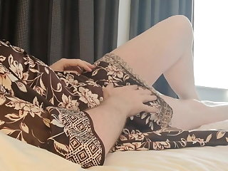 Serbian CD Sarah's morning wank in sexy satin nighty set