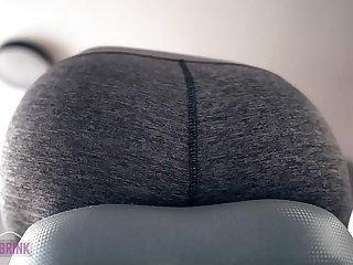 Sports Orgasm on Exercise Bike in Yoga Pants Ass View + Heart Rate