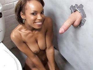 Glory Holes Ebony Aja Cummings Sucks White Gloryhole Cock
