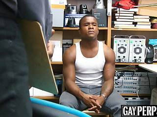 Group Sex Handsome ebony thief barebacked by two policemen