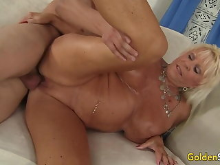 Piercing Busty Granny Mandi McGraw Pleasures Young Lover