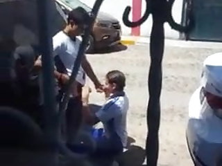 Orgy Mexican Teens caught in middle of blowjob on street