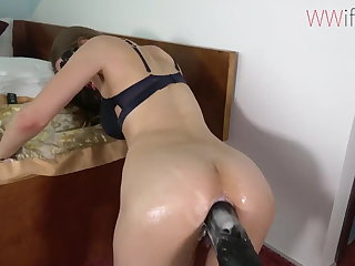Girl in machine with Big cock