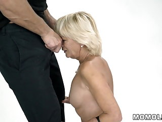 Saggy Tits granny squirts on-a hard cock