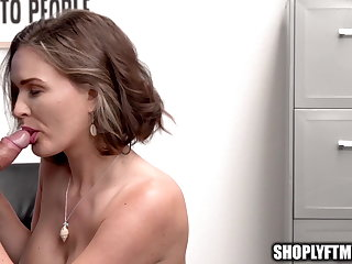 Slave MILF Caught Stealing Battery for Anal Toy Fucks Mall Cop