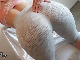 Yoga Fuck My Tight Pussy and Creampie in My Ripped Yoga Pants