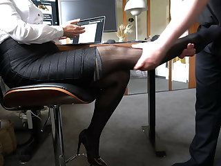 Danish boss uses secretary's nylon feet – footjob, business-bitch
